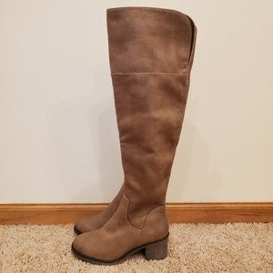 Tan Heeled Knee High Boots